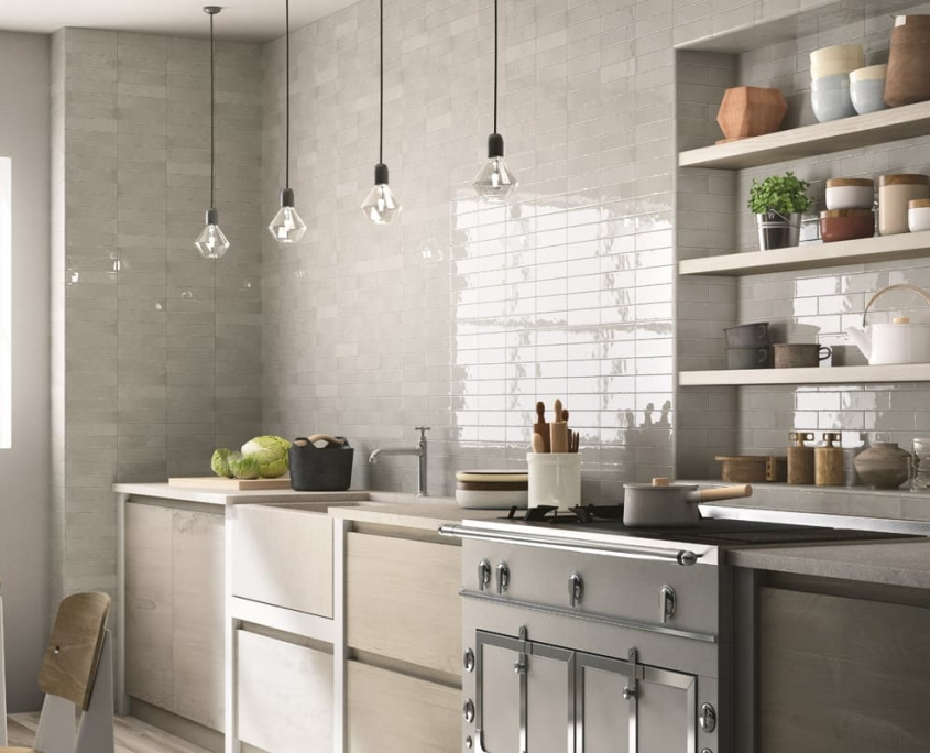 Ceramic tile backsplash cootage kitchen