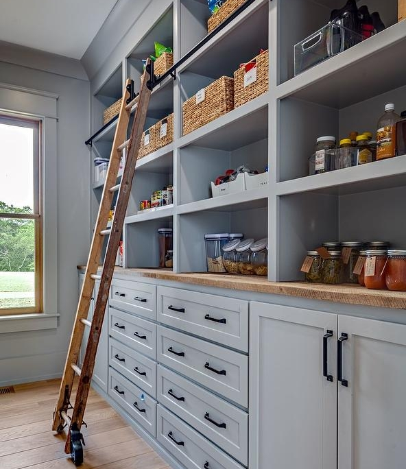 cottage style gray pantry cabinets