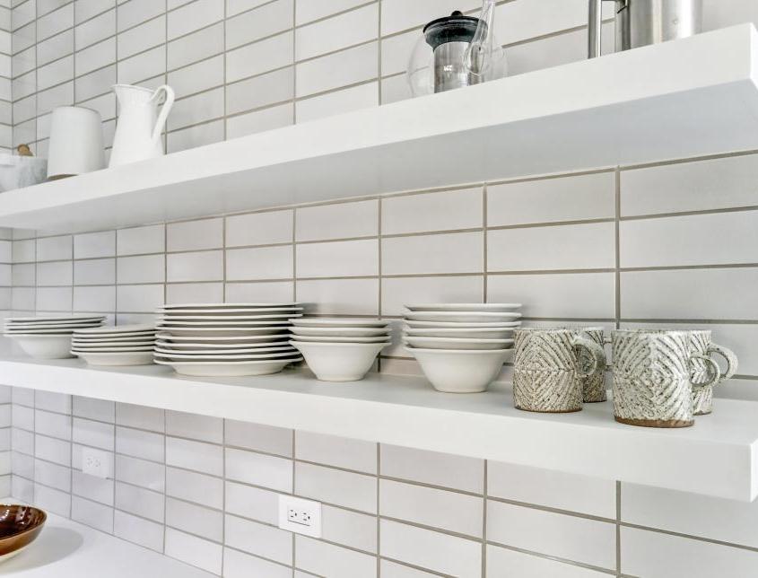 modern open shelving kitchen