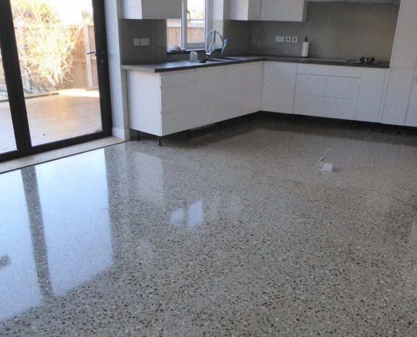 Modern Minimalist Kitchen concrete floor
