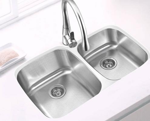 "Double Bowl 32 1/4""x 20 1/2"" Kitchen Sink"