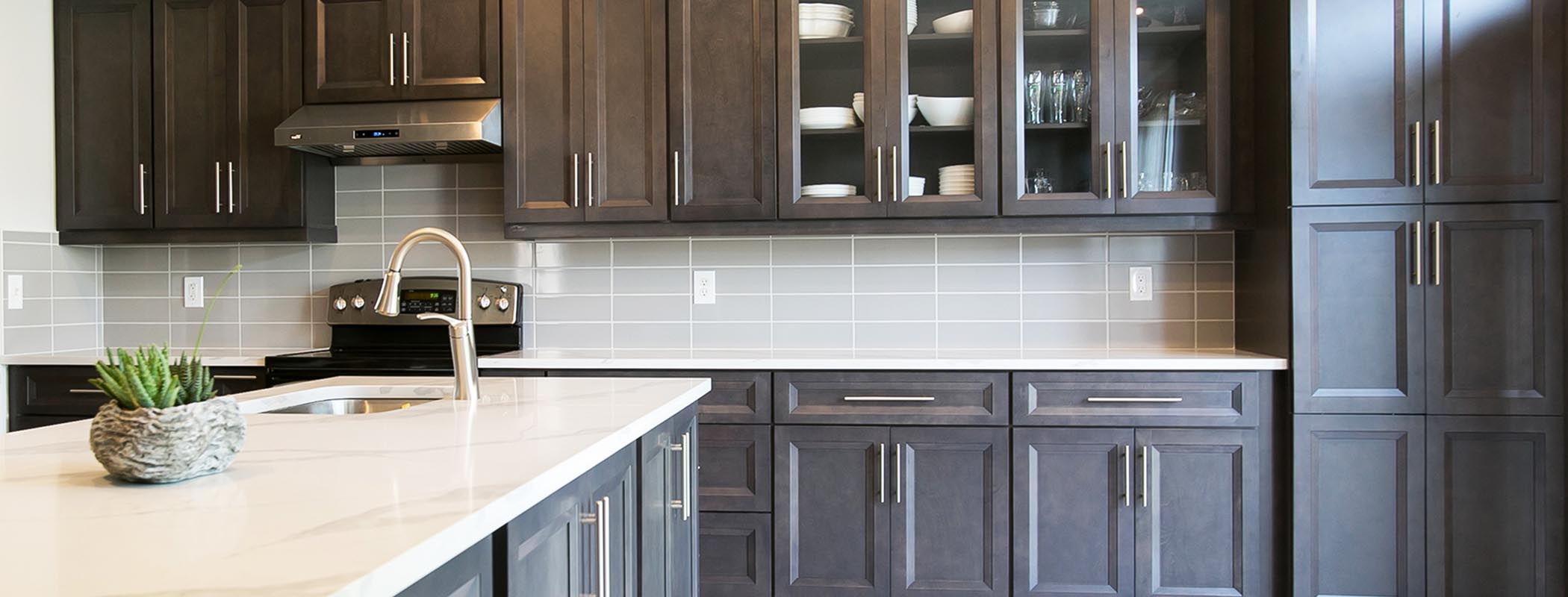 Transitional Charcoal Wood Kitchen Cabinet Montreal